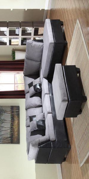 delivery the next day🍀Matisse Grey/Black Sectional with Ottoman | U5014 for Sale in Jessup, MD