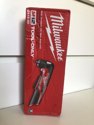 """Milwaukee New Right Angle Drill 3/8"""" Cordless M12 (Tool only) (closed box) Nuevo, no Bateria for Sale in Los Angeles, CA"""