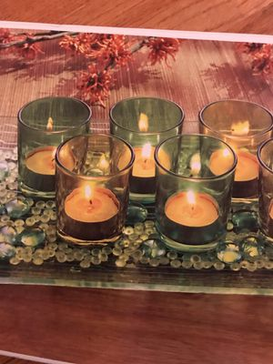 Terra - 8 pc votive decorative glass set. Includes 7 votives, glass tray and decorative beads for Sale in Fairfax, VA