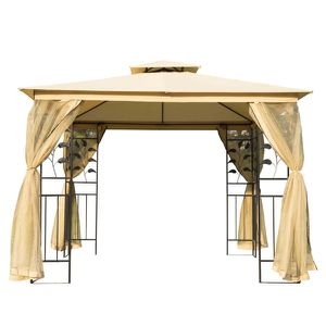 8.5' Steel Fabric Rectangle Outdoor Gazebo with Mesh Curtain Sidewalls - Beige for Sale in Los Angeles, CA