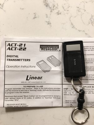 Linear ACT-21 MegaCode Mini Keychain Gate Garage Door Remote ACP00607 for Sale in Alexandria, VA