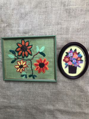 Vintage Retro Needle Point 1970's in Original Frames for Sale in Los Angeles, CA