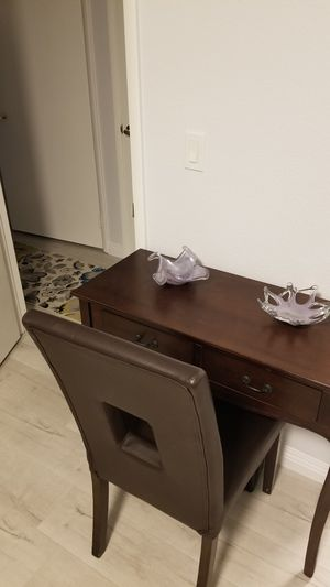 Wooden small desk for limited spaces. Leather wooden chair. Set. for Sale in Las Vegas, NV