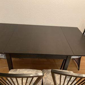 Black Dining Room Table (can Collapse) With 4 Chairs $150 OBO for Sale in Seattle, WA