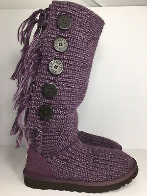 AUSTRALIAN UGG SWEATER FRINGE 5 BUTTON HIGH BOOTS SZ- 6 for Sale in Vallejo, CA