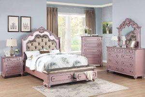 GLAM ROSE GOLD QUEEN SIZE BEDROOM 4 PC PIECE SET BED DRESSER MIRROR NIGHT STAND / RECAMARA TOCADOR ESPEJO MESA DE LADO for Sale in Ontario, CA
