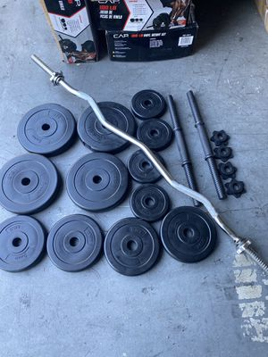 dumbbells weight and curl bar for Sale in Garden Grove, CA