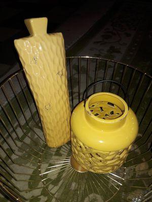 Ceramic lantern and vase home decor for Sale in Fontana, CA