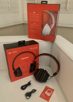 Brand NEW $20 each MPOW 059 Light Weight Bluetooth Wireless Headphone Headset Aux Port Rechargeable Matte Black With Red or All White Color for Sale in Whittier,  CA