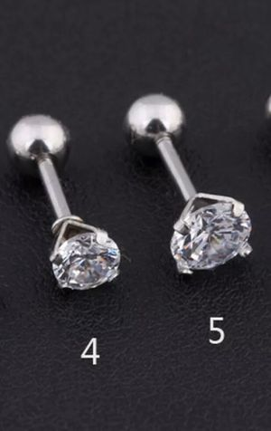 SILVER or GOLD TONE CRYSTAL EAR CARTILAGE STUD EARRINGS for Sale in Macomb, MI