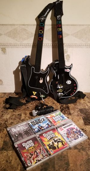 LOT OF 2 PS3 Kramer Striker Wireless Guitar Hero Controller/Mic and 6 PS3 Games for Sale in Florissant, MO