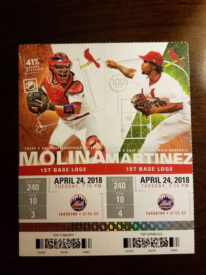 Cardinals Mets April 24 section Tickets for this Tuesday's game, April 24th, Section 240, Row 10, Seats 3 & 4. for Sale in O'Fallon, MO