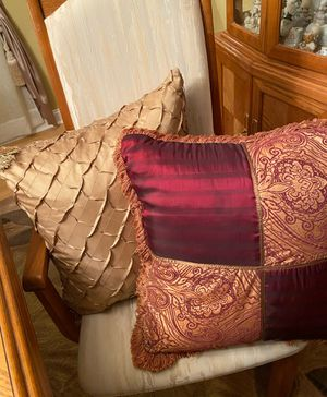 Beautiful embellished gold & red pillows, large and full, new, excellent condition, perfect for decor, $10 each, porch pickup Mt Laurel for Sale in Mount Laurel Township, NJ