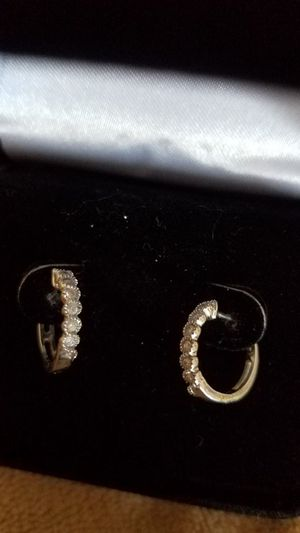 Small 10k white gold diamond hoop earrings for Sale in Columbus, OH