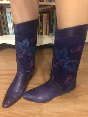 Vintage purple suede and leather boots for Sale in Manchaca, TX