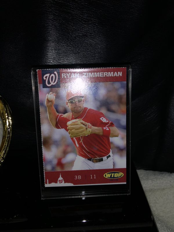 Autographed Ryan Zimmerman, Washington Nationals Baseball in Deluxe Gold Glove Holder! Excellent Autographed MLB Baseball -Mint, and unique promo bas