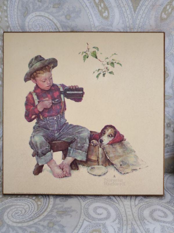 Set of 4 Norman Rockwell Kentucky Art Wood Plaque Tiles