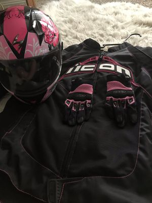 Motorcycle gear. Jacket 3x n gloves med for Sale in Denver, CO