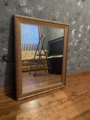 Large mirror 32x26 alumina gold framed. $40 or better offer for Sale in Bolingbrook, IL