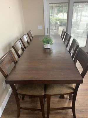 6-8 large Kitchen/dining room real wood table @ kitchen counter height for Sale in Avon, OH