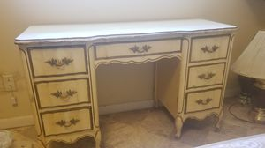 1 Day Sale! White & Gold Trim, Real Wood Provincial Style Antique Desk for Sale in Aloma, FL