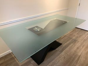 Frosted Glass Top Modern Dining Table with X Shaped Base for Sale in Upper Arlington, OH