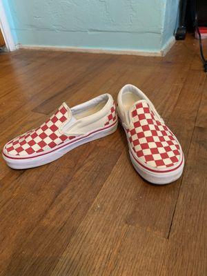 Red slip on checkered vans for Sale in Fresno, CA