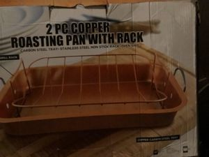2 pc copper roasting pan w/rack for Sale in Las Vegas, NV