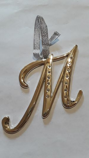 Large letter M metal hanging display monogram with rhinestones for Sale in Tulsa, OK