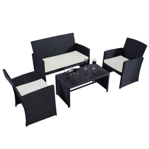 Black 4-Piece Wicker Rattan Patio Conversation Set Garden Lawn Furniture with Beige White Cushions for Sale in Alhambra, CA