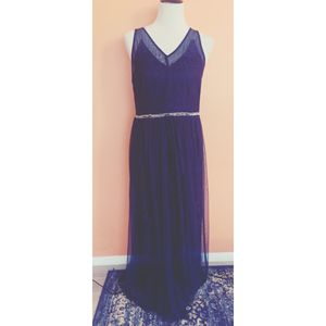Navy blue lace floor length dress size Large for Sale in West Valley City, UT