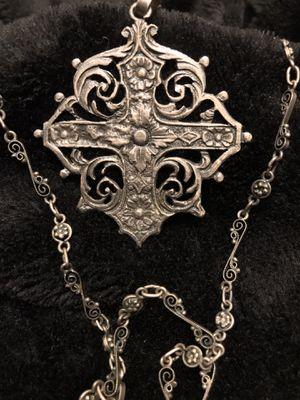 Sterling Antique 1800s Cini Coppini Peruzzi Cross and Intricate Chain for Sale in Oronogo, MO
