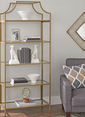 New!! Bookcase, bookshelves, organizer, 5 glass shelf bookcase, storage unit, living room furniture, entrance furniture, shelving display , gold for Sale in Phoenix, AZ