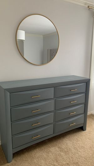 Dresser with mirror Gold knobs Grey for Sale in Vancouver, WA