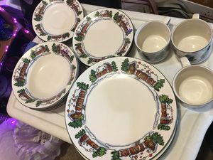 Vintage Christmas Dinnerware 4 place setting Gingerbread House Dishes 19-pc Lot for Sale in Warner Robins, GA