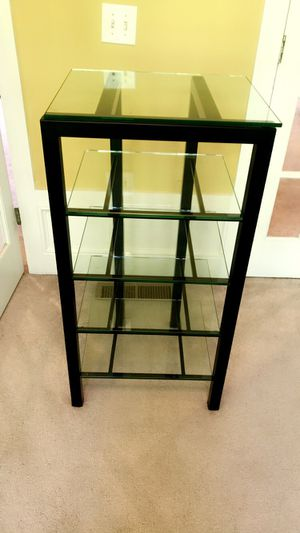 Black metal stand with glass shelves for Sale in Atlanta, GA