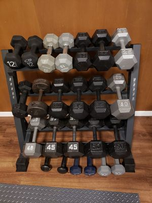 ⚠️590lbs⚠️ of dumbbells from 5 to 50lbs with stand for Sale in Kent, WA