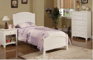 Twin size bed and mattress orthopedic white for Sale in Huntington Beach, CA
