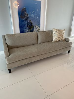 "Pottery Barn sofa, 7.5"" in high performance grey/taupe fabric plus wood side table! Obo. Pickup only. In Dania Beach. for Sale in Dania Beach, FL"
