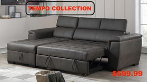 Sectional Sofa with Pull Out Bed and Adjustable Headrest, Grey for Sale in Downey, CA