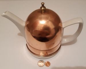 """Vintage Metal Copper and Porcelain Tea Pot, Kettle, Teapot, 7"""" x 9"""", Kitchen Decor, Table Display, Shelf Display, Use it for Sale in Lakeside, CA"""