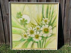 "Amazing Mid Century Acrylic Floral Painting Signed Andersen HUGE 51.5x51"" for Sale in Pompano Beach, FL"