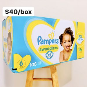 Size 6 (35+ lbs) Pampers Swaddlers (108 baby diapers) *PROMO* BUY ANY 2 PAMPERS BRAND BOXES, GET 1 FREE HUGGIES TUB 64ct for Sale in Anaheim, CA