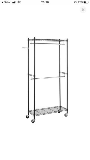 Whitmor Supreme Double Rod Garment Rack Rolling Clothes Organizer - Black with Chrome for Sale in Salt Lake City, UT