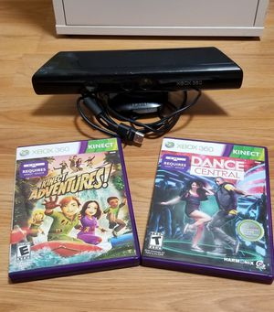 XBOX 360 KINNECT SENSOR + 2 FUN GAMES, FIRM PRICE, WORKS GREAT for Sale in Garden Grove, CA