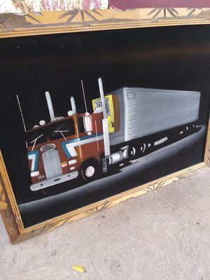 24 by 36 in vintage velvet black 18 wheeler truck picture for Sale in Oklahoma City, OK