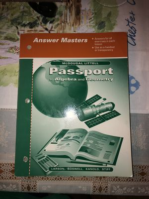 McDougal Littel Passport to Algebra and Geometry Answer Masters for Sale in Anaheim, CA