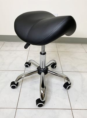 New $25 Saddle Stool Salon Spa Medical Swivel Hydraulic Seat Chair Rolling Wheels, Black Color for Sale in El Monte, CA