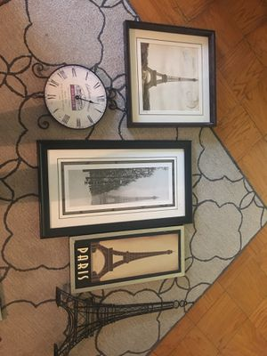 PARIS/WINE PICTURES ( and clock)AND EIFFEL TOWER STAND for Sale in Silver Spring, MD