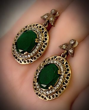 EMERALD FINE ART DANGLE POST EARRINGS Solid 925 Sterling Silver/Gold WOW! Brilliantly Faceted Oval Cut Gems, Diamond Topaz M5522 V for Sale in San Diego, CA